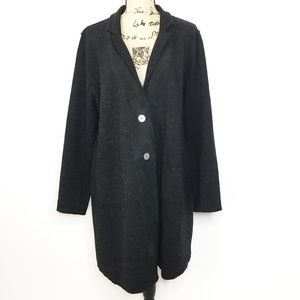 Eileen Fisher Charcoal Gray Reversible Wool Coat